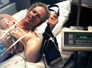 Steve Ryan with Monitors before PVI In Bordeau Hospital April 1998