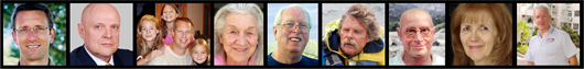 Photos of contributors to A-Fib patient stories: Listed by subject.