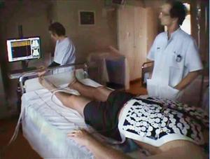 Patient during ECGI with Dr. M. Haissaguerre