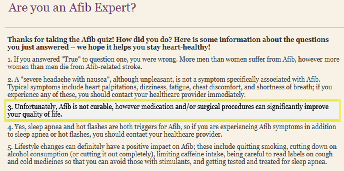 Are you an afib expert? Quiz Answers