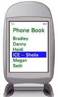 Cell phone with ICE contact
