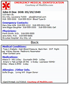 Emergency Medical Id Template Wallet Card Ahoy Comics
