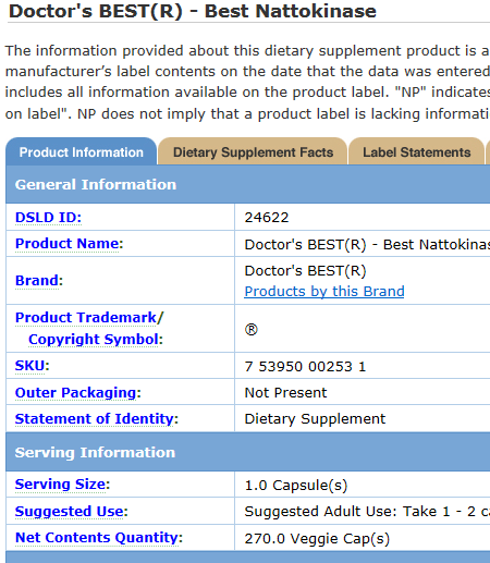 Dietary Supplement Label Database - Doctor's Best Nattokinase
