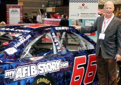 Steve with Michael Waltrip' MyAFIBStory.com NASCAR