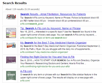Search A-Fib.com by Subject, Keyword or Phrase