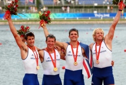 Welsh Tom James (L) with team; Gold Medal London 2012 Olympic Games