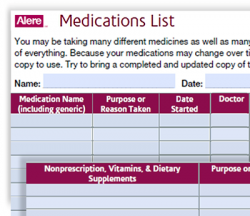 Medication Inventory form complements of Alere at A-Fib.com
