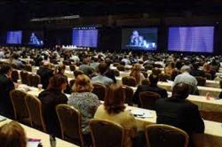 2016 AF Symposium 5-floor-to-ceiling video monitors at the Hyatt Regency Orlando