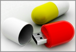 Pill-shaped USB flash drive