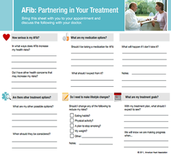 "AHA ""A-Fib: Partnering in Your Treatment"" worksheet at A-Fib.com"